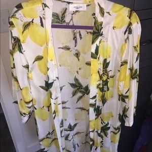 Kimono Lemon Print -Carly Jean Los Angeles